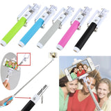 Fashion Extendable Wired Remote Shutter Selfie Stick Monopod For iPhone Smartphone - Pink - Tripods & Monopods - Althemax - 3
