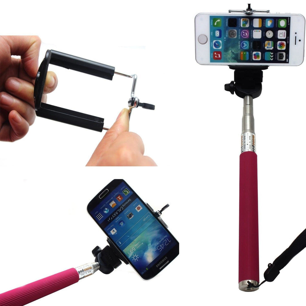 Camera Monopod Selfie Stick 1M for cellphone Apple iphone Multi Colors - Pink - Selfie Stick - Althemax - 1