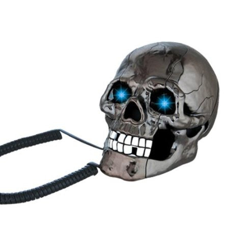 Black Scary Cool Skull Skeleton Shaped Telephone Corded Phone with Blue Led Flashing Eyes Halloween Gifts - Telephone - Althemax - 1