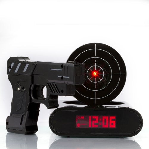 Shooting Laser Toy Gun Alarm Clock Target Panel Shooting LCD Screen Toy Games Gifts Black - Alarm Clocks - Althemax - 1