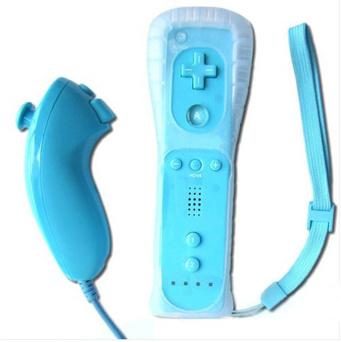 Classic Remote + Nunchuck Controller + Silicone Case for Wii / Wii Mini Multi Color - Blue - Wii Accessories - Althemax - 1