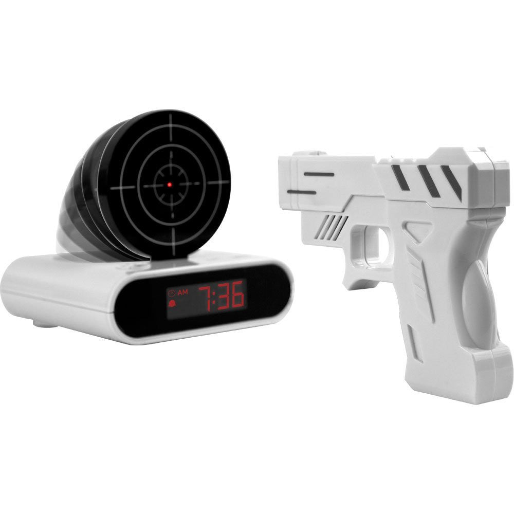 Shooting Laser Toy Gun Alarm Clock Target Panel Shooting LCD Screen Toy Games Gifts White - Alarm Clocks - Althemax - 1