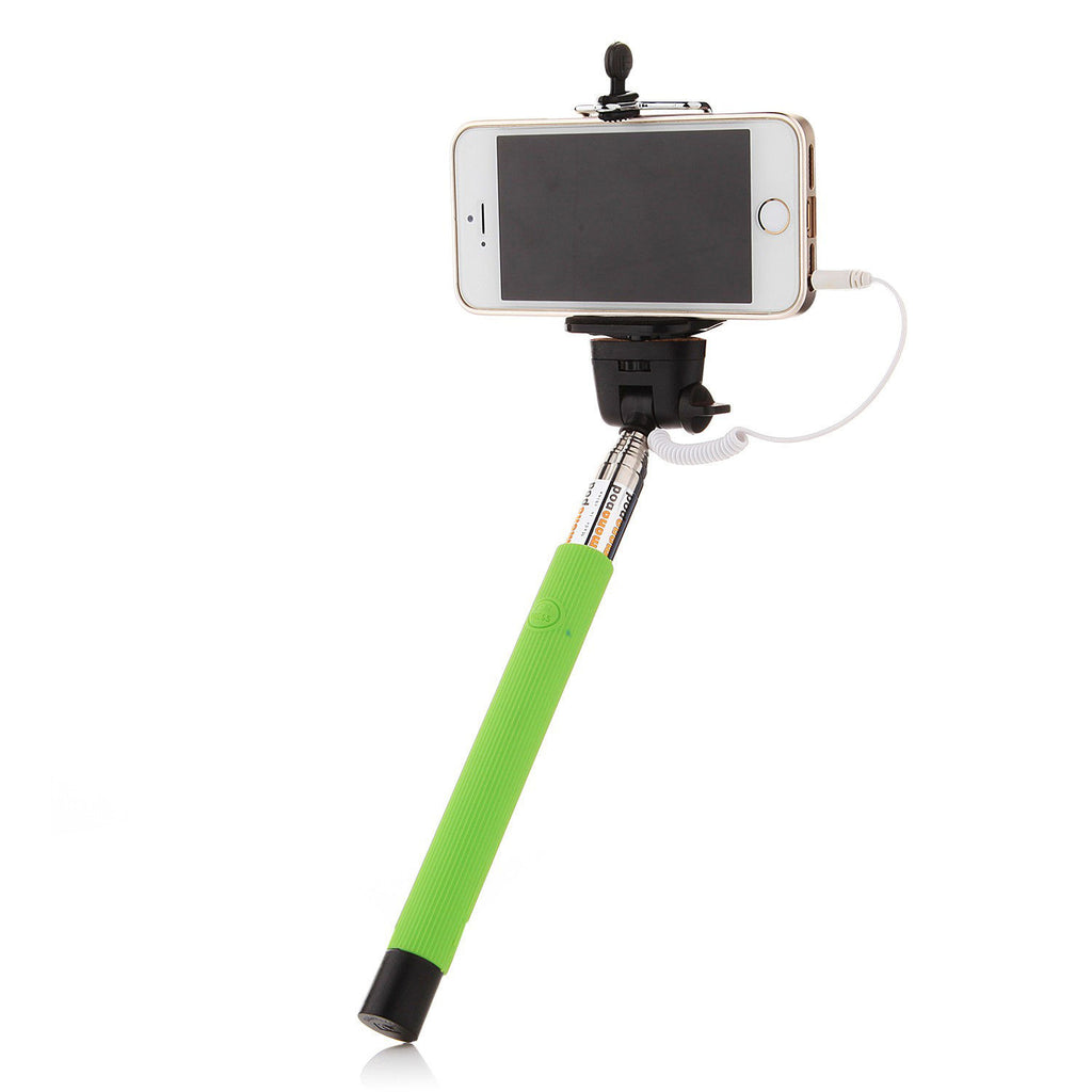 Green 3.5mm Extendable Selfie Wired Stick Phone Holder Remote Shutter Monopod For smartphone iphone - Tripods & Monopods - Althemax - 1