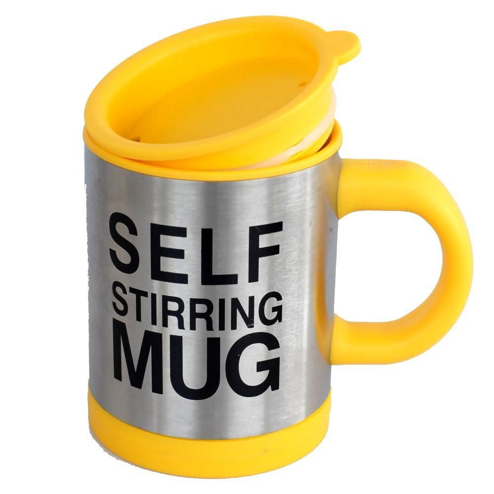 Lazy Auto Self Stir Stirring Mixing Tea Coffee Cup Mug Work Office - Yellow - Gift - Althemax - 1