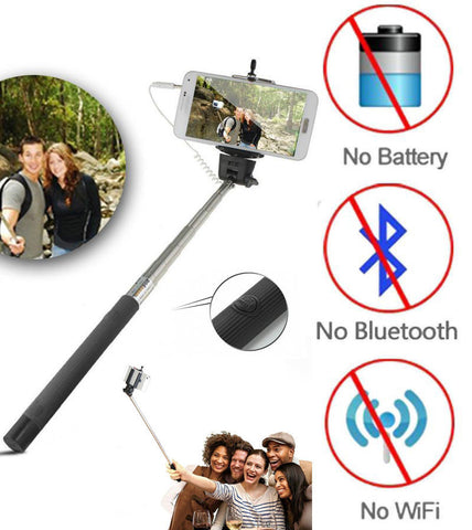 Black 3.5mm Extendable Selfie Wired Stick Phone Holder Remote Shutter Monopod For smartphone iphone - Tripods & Monopods - Althemax - 1