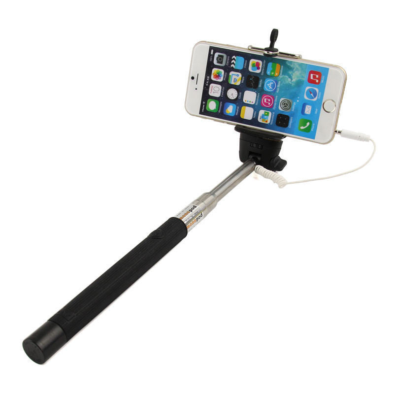Black 3.5mm Extendable Selfie Wired Stick Phone Holder Remote Shutter Monopod For smartphone iphone - Tripods & Monopods - Althemax - 4