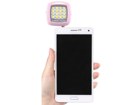 Pink 3.5mm 16 LED Selfie Flash Fill-in Light Cellphone Camera Spotlight Portable iphone smartphone - Cellphone Accessory - Althemax - 1