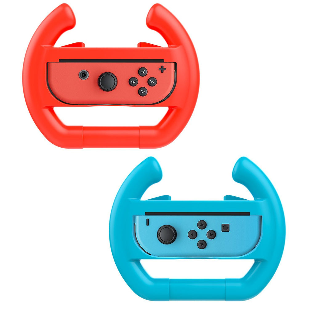 Red & Blue 2 x Race Car Controller Remote dock steering Wheel Accessory Joy-Con For Nintendo Switch Mario Car Racing Games