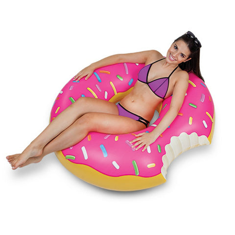Althemax® Inflatable Giant Donut Pool Beach Float 120cm 4ft Swimming Stawberry Pink / Chocolate - Floating Bed - Althemax - 1