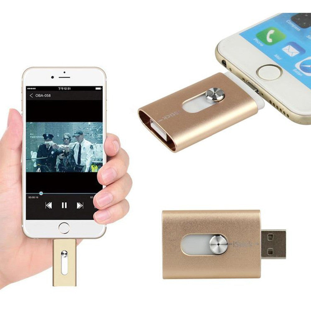 New 32GB Gold USB i-Flash Drive U Disk 8 pin Memory Stick Adapter For iPhone 5S 6S plus iPad - Cellphone Accessory - Althemax - 1