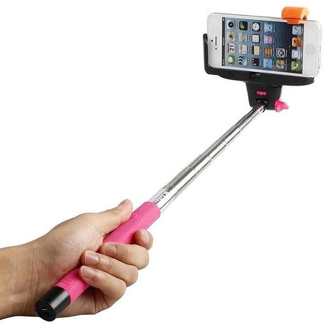 Built in Bluetooth Extendable Selfie Stick Monopod Holder Multi Available - Pink - Tripods & Monopods - Althemax - 1