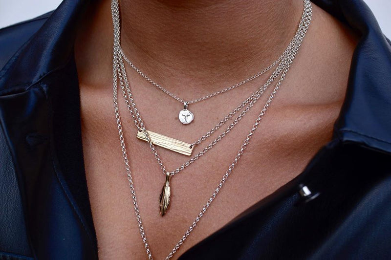 Small Gold Feather X Silver Necklace