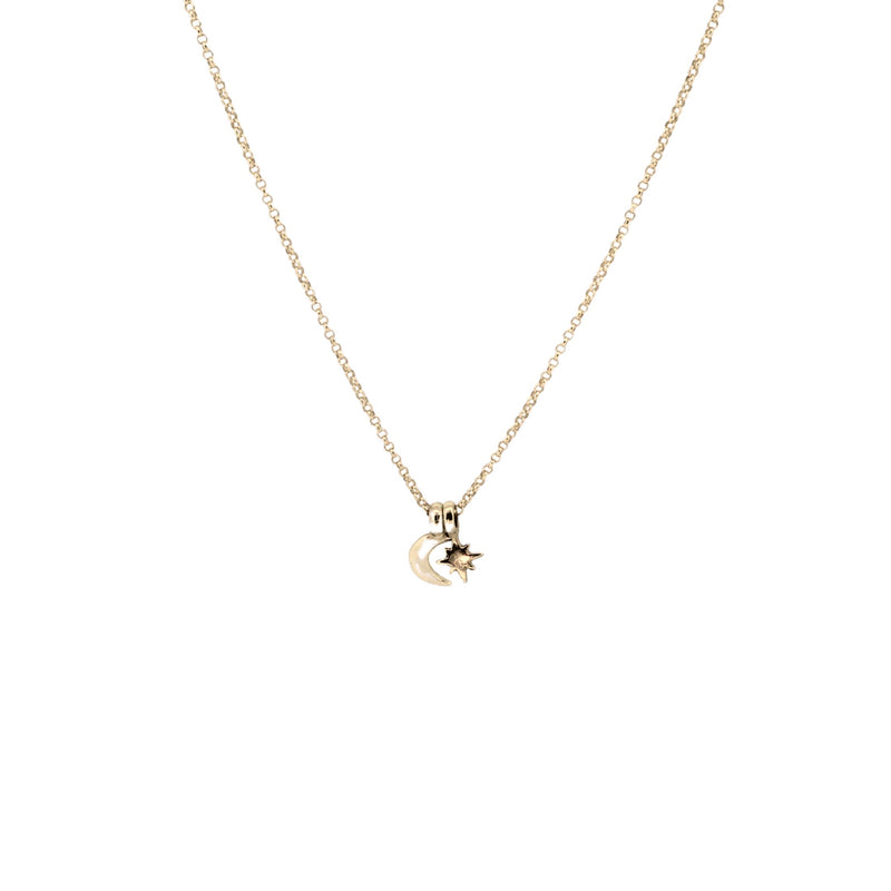 Gold North Star X Mini Moon Necklace