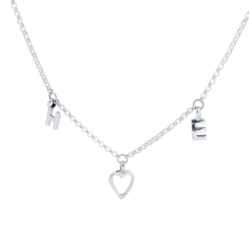Letter X Open Heart Necklace
