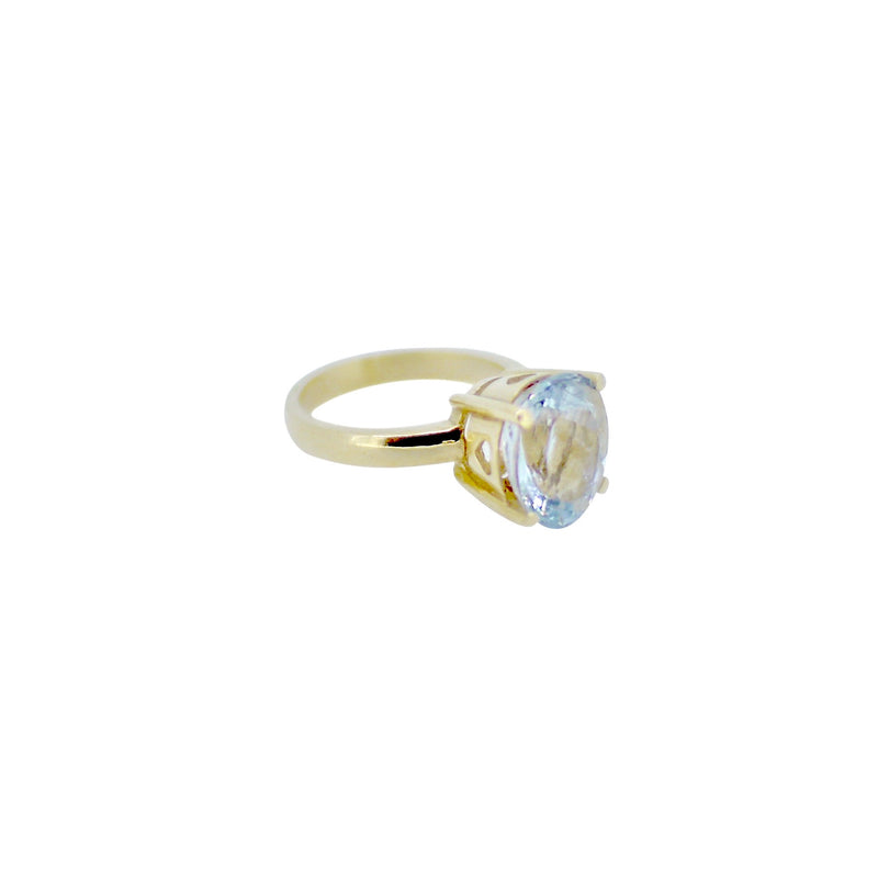 Gold Aquamarine Princess Claw Ring