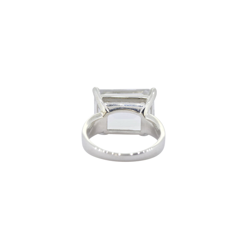 Allure White Topaz Claw Rectangle Ring