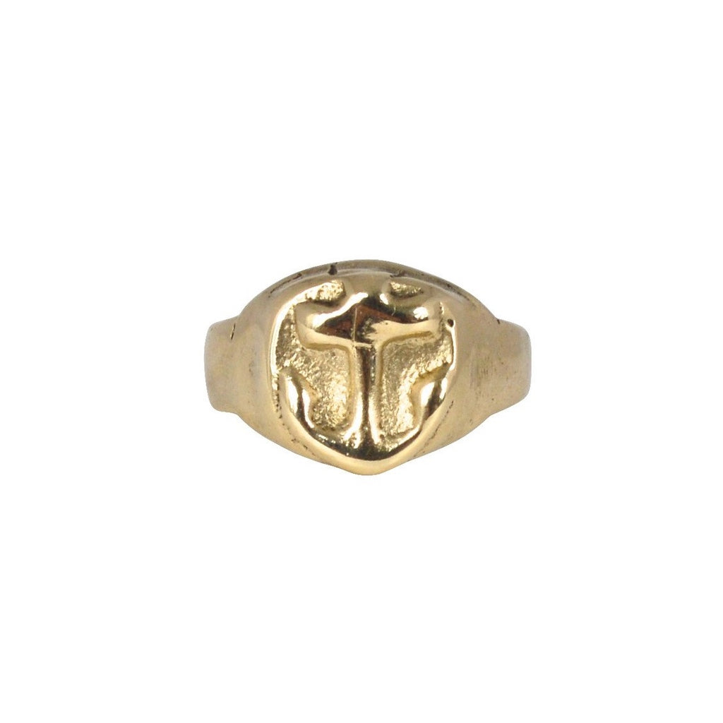 Gold Anchor Signet Ring