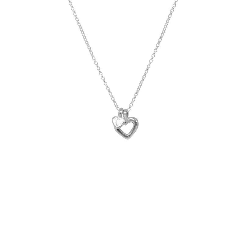 Open Heart X Tiny Heart Necklace