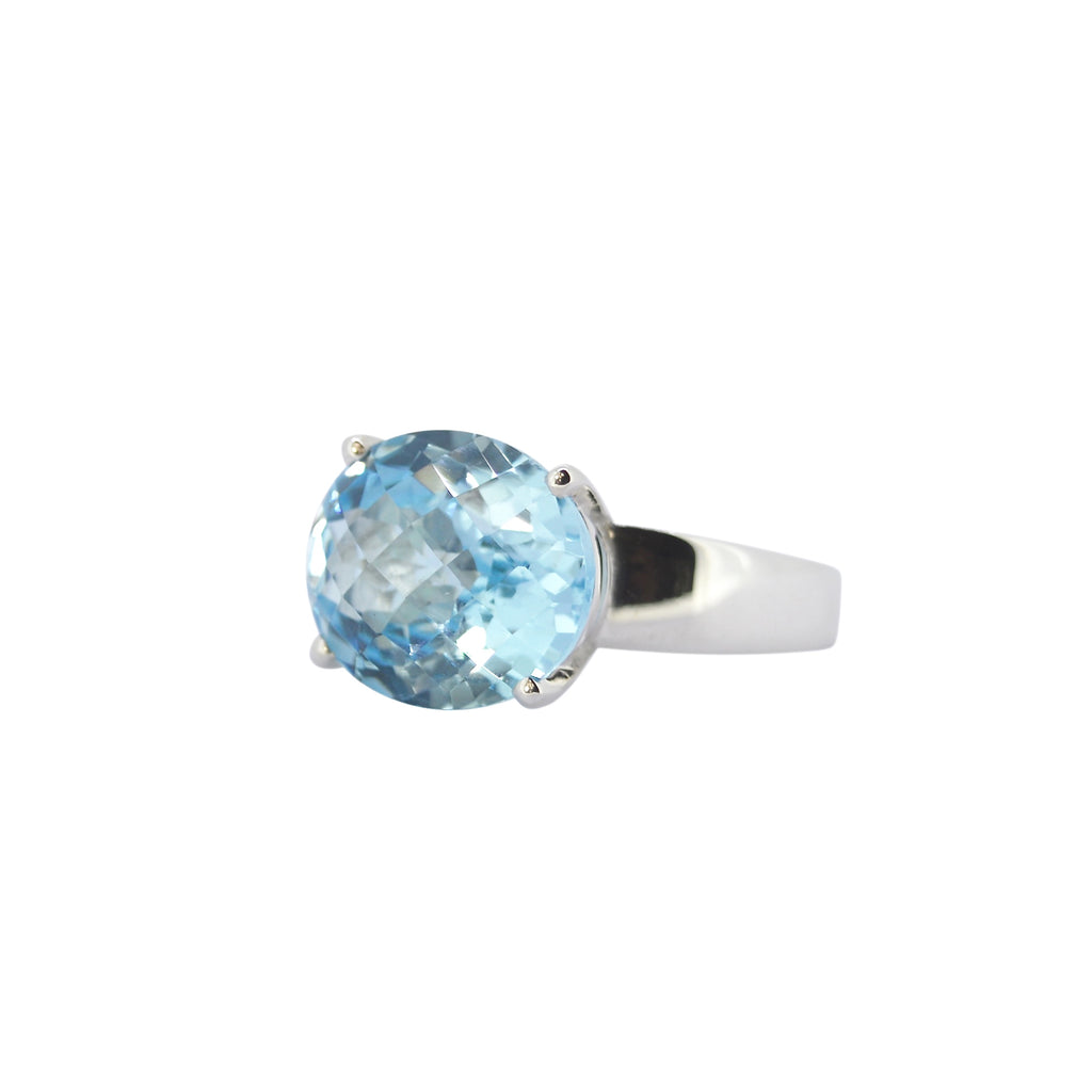 Allure Blue Topaz Oval Claw Ring