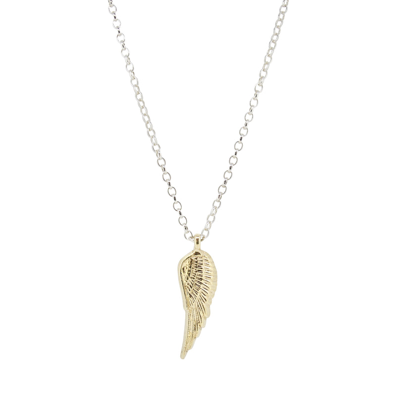 Gold Angel Wing X Silver Necklace