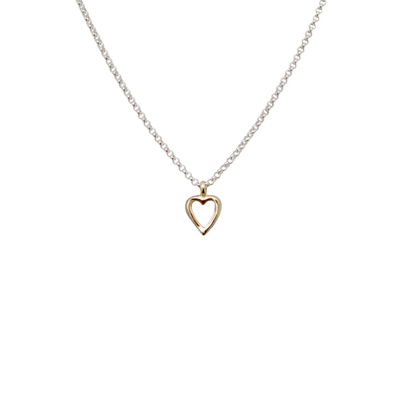 Gold Open Heart X Silver Necklace