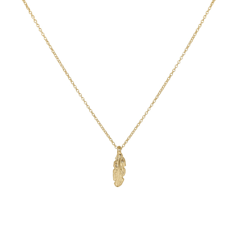 Gold Small Feather Necklace