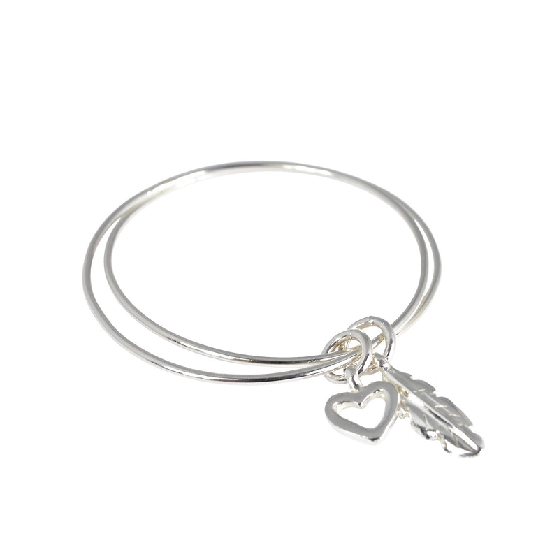 Double Open Heart X Feather Bangle