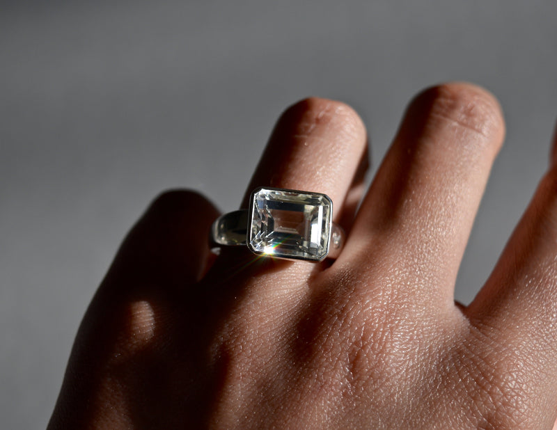 Allure White Topaz Rectangle Ring