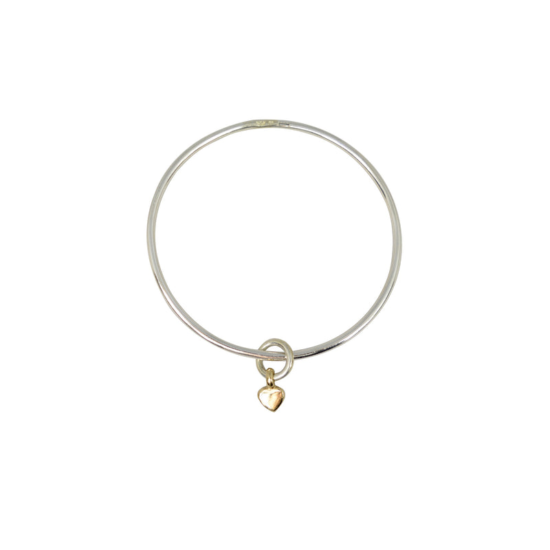 Gold Baby Heart X Silver Bangle