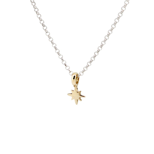 Gold North Star X Silver Necklace