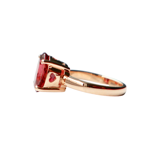 Gold Pink Tourmaline Princess Ring