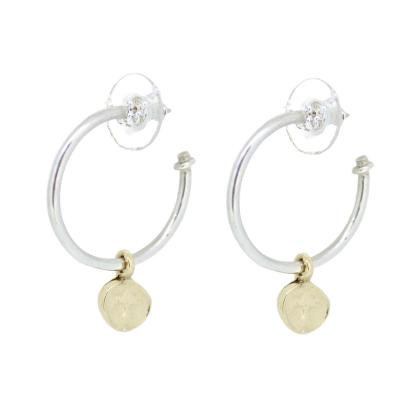 Gold Tiny Roman Cross X Silver Hoops