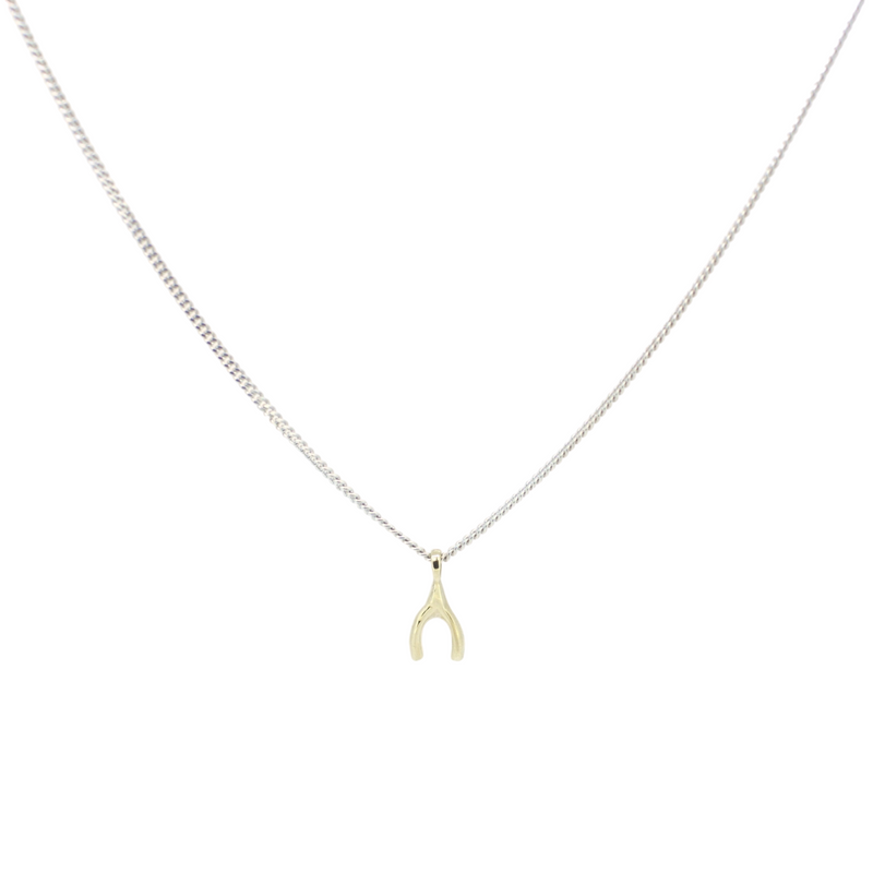 Gold Mini Wishbone X Silver Chain
