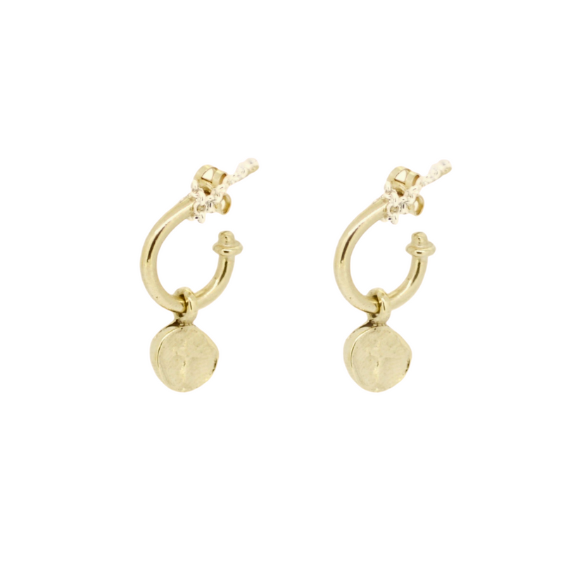Gold Tiny Roman Cross Hoops