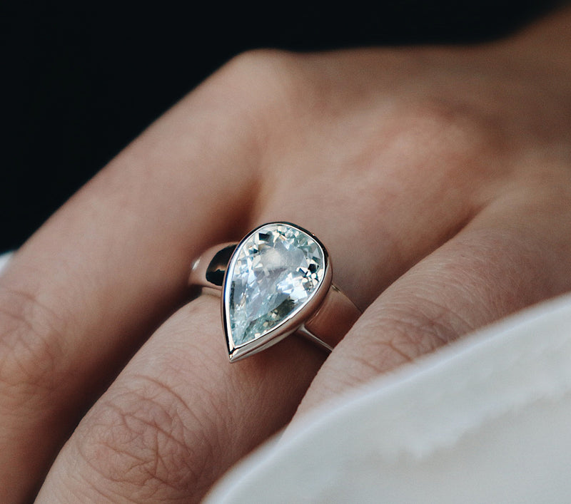 Allure Pear Aquamarine Ring