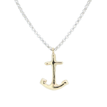 Gold Large Anchor X Silver Necklace