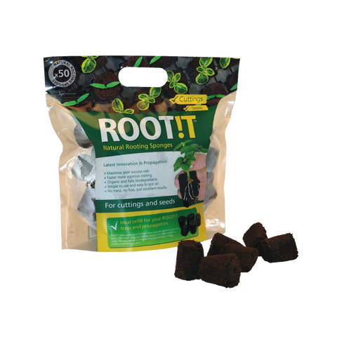 Natural Rooting Sponges 50 Refill Bag - Grey & Green Growshop
