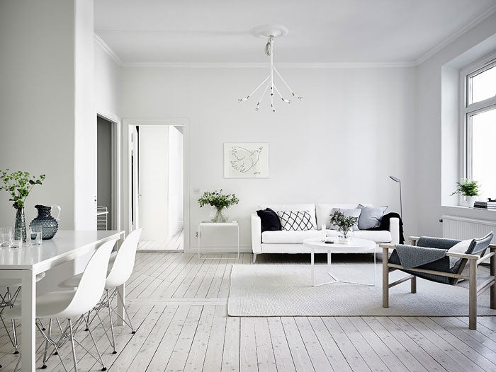 All white swedish home tour immy indi for Minimalist apartment living room