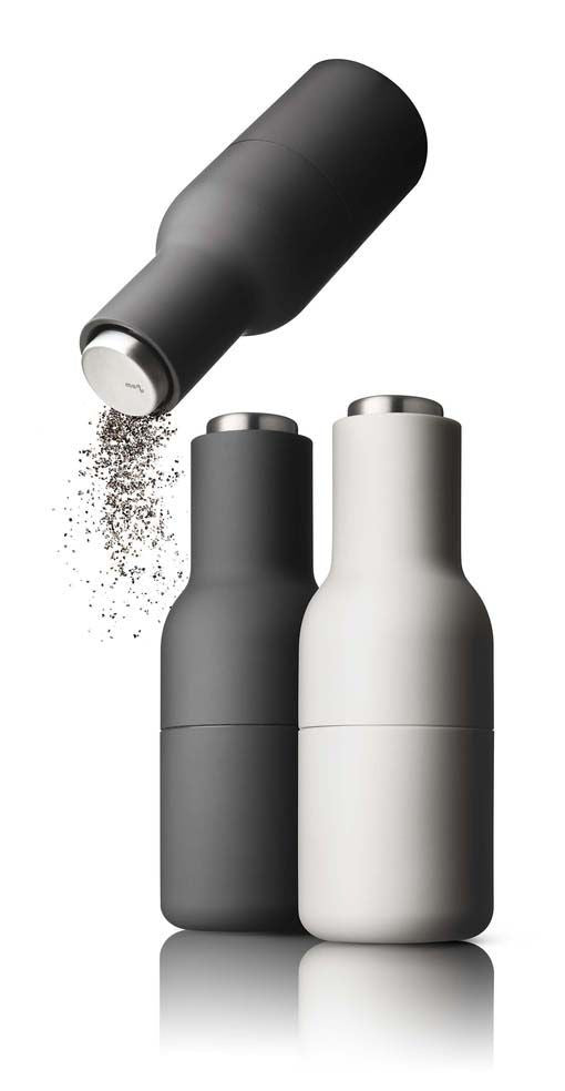 Menu Salt and Pepper Grinders - Carbon + Ash - Steel Top