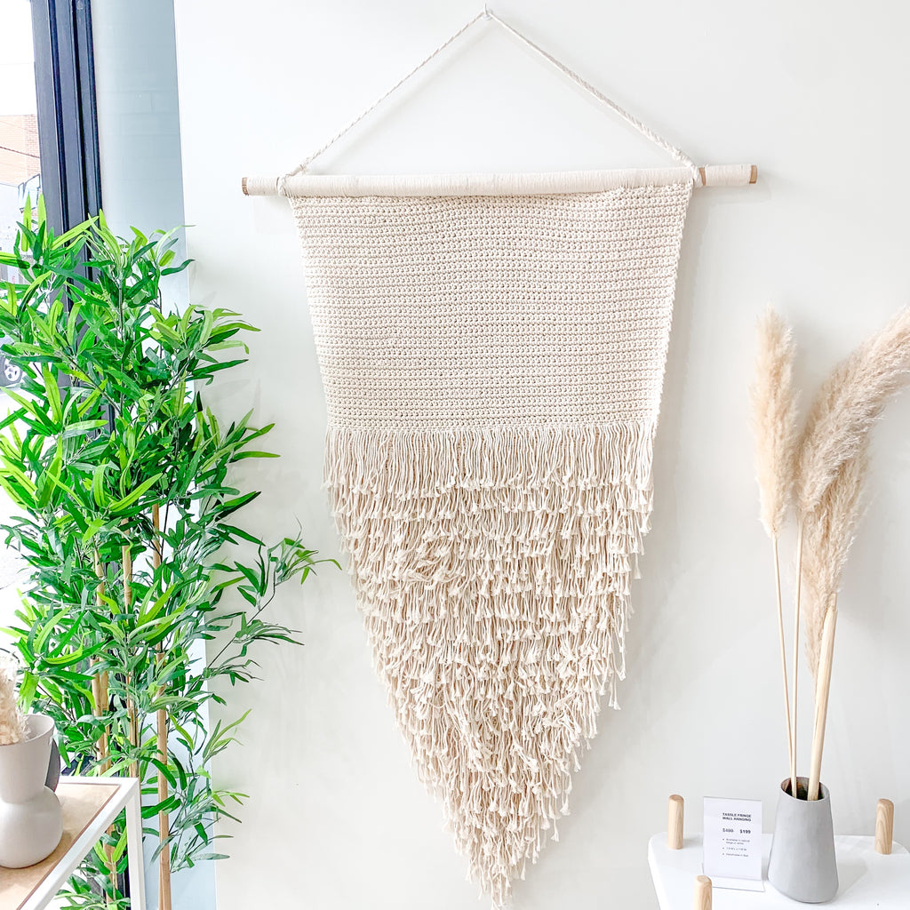 Boho Tassel Fringed Wall Hanging - Natural - XL