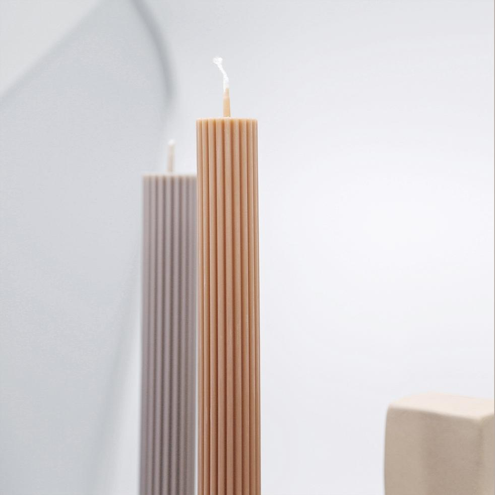 Black Blaze Column Pillar Candle | Peach