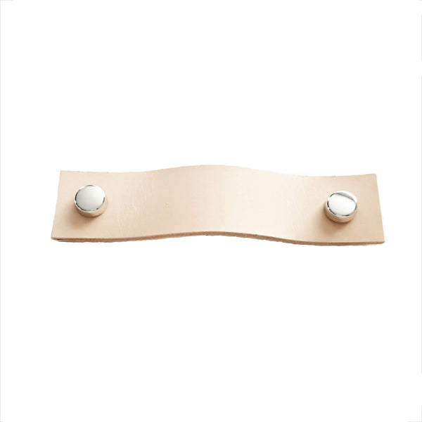 Leather Drawer Handle - Natural with screw cover set