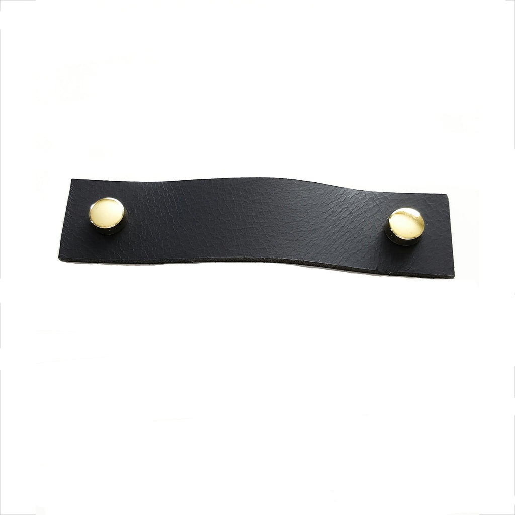 Leather Drawer Handle - Black with screw cover set