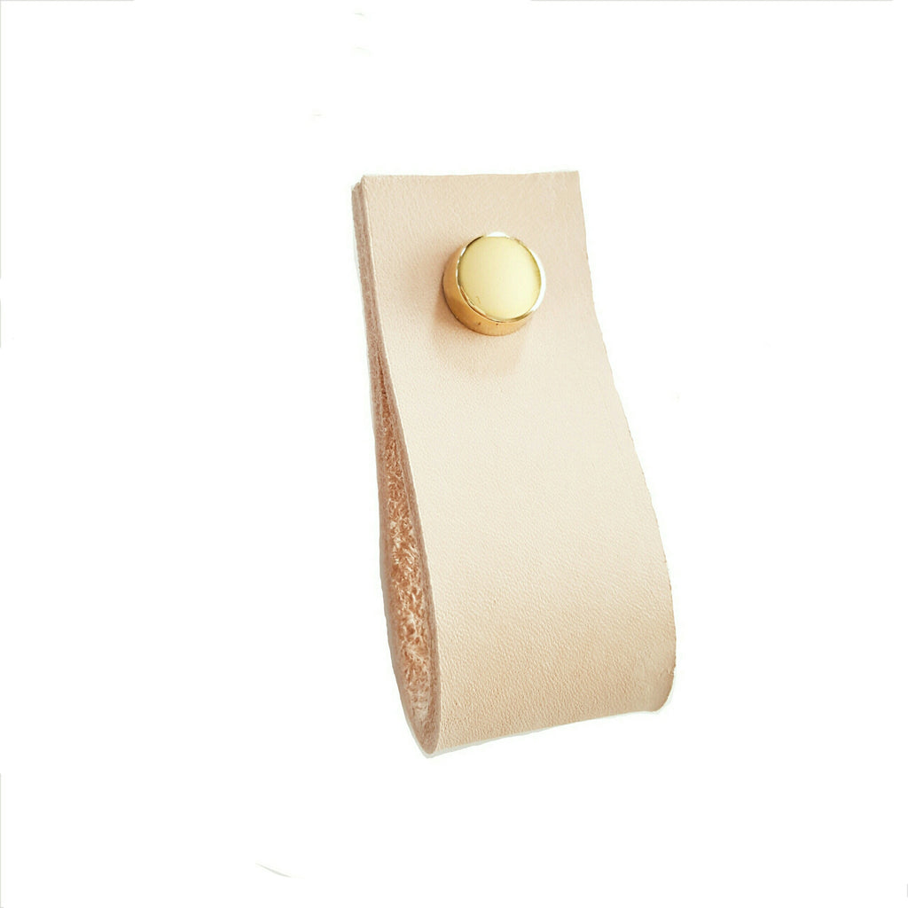 Natural Leather Drawer Pull with Screw Cap Cover set
