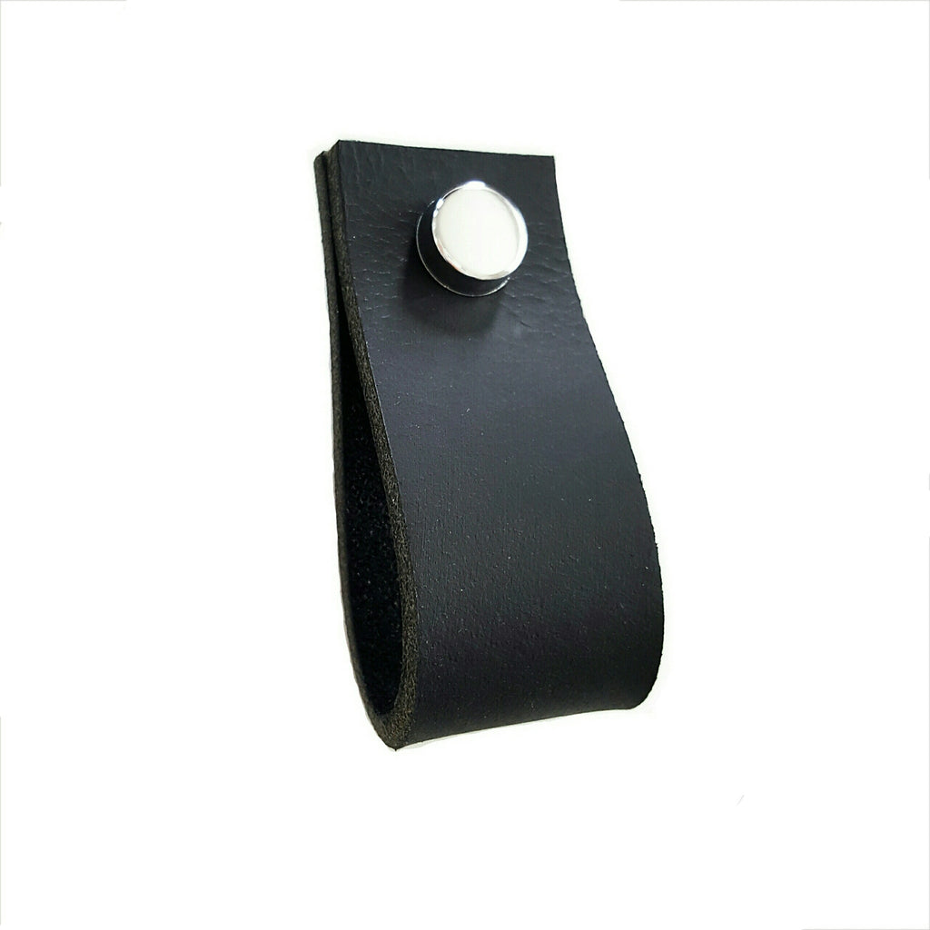 Leather Drawer Pull - Black with Screw Cap Cover set
