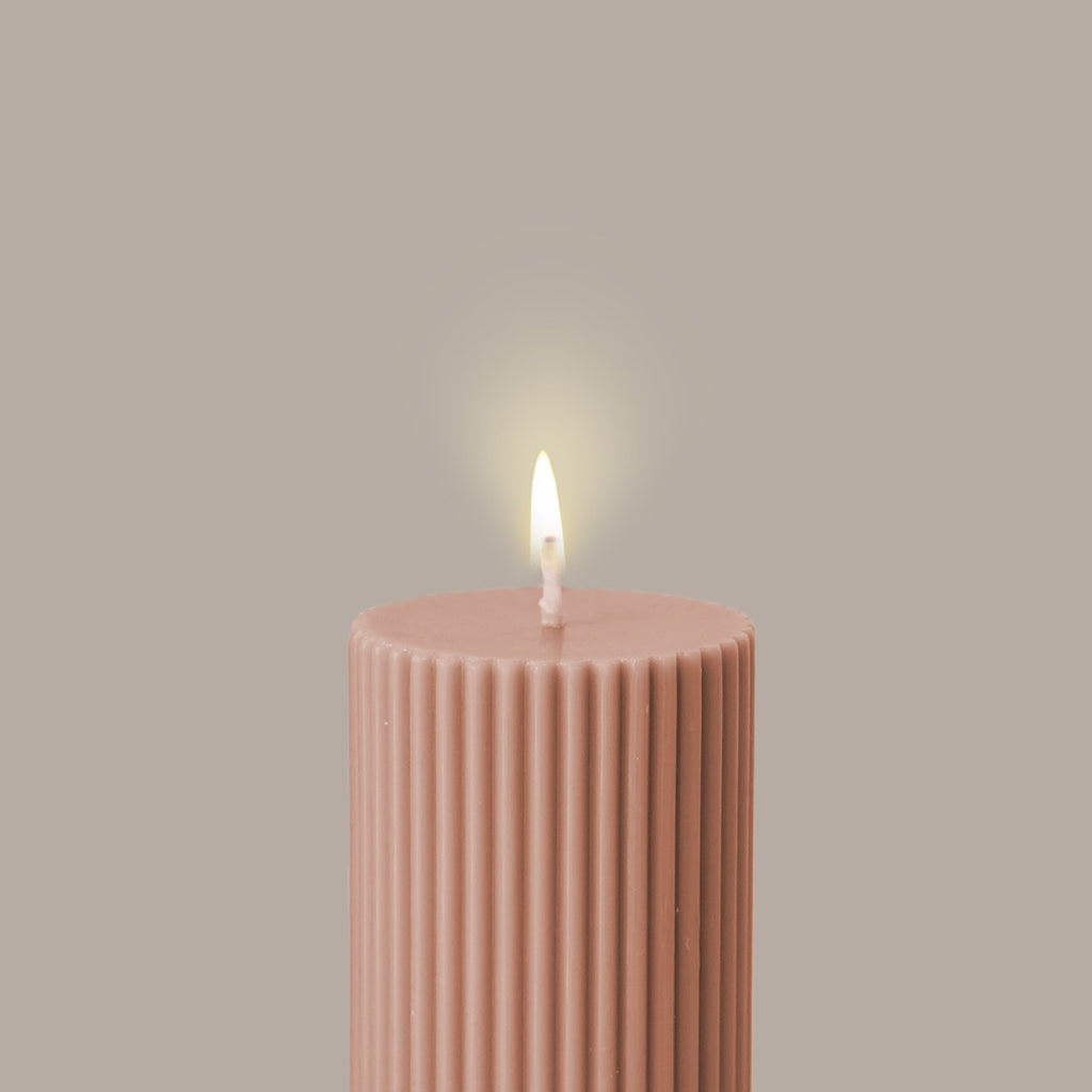 Black Blaze Wide Column Pillar Candle | Peach
