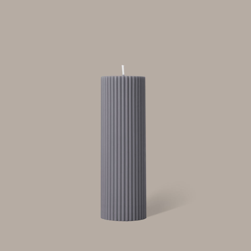 Black Blaze Wide Column Pillar Candle | Grey