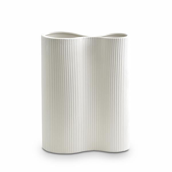 Ribbed Infinity Vase | Medium | Snow