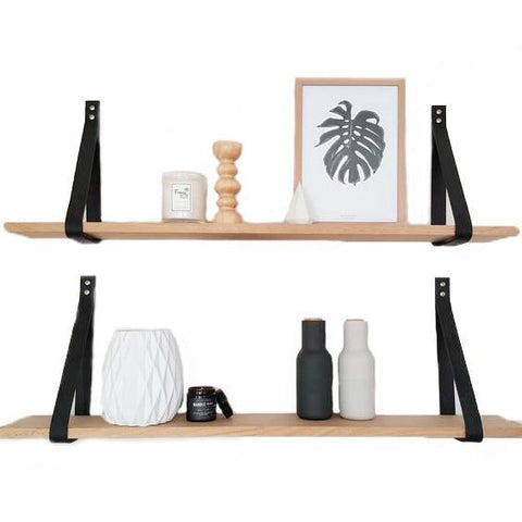 Leather Strap Set for Shelving - Black with Screw Cap Cover Set