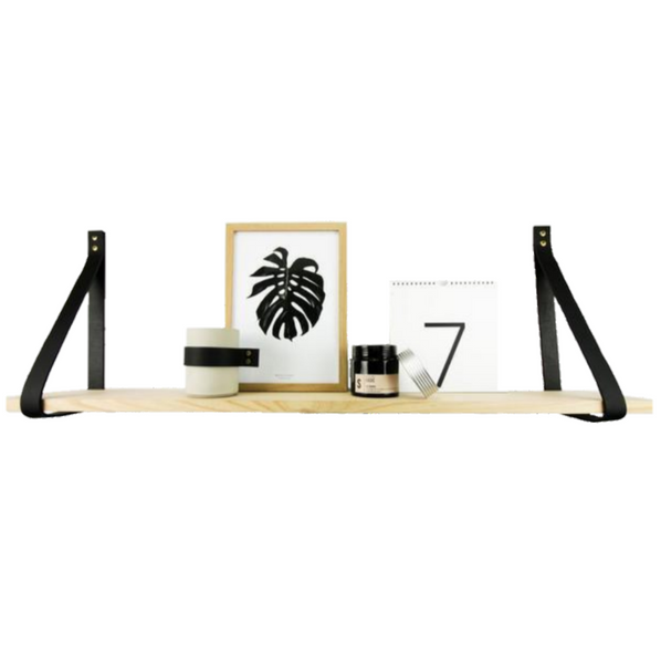 Tasmanian Oak Shelf with Black Leather Straps - 100 cm